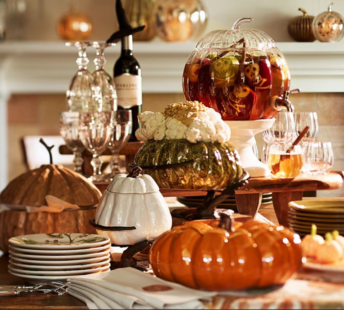 Pottery Barn Pumpkin with Serve Stand - Halloween Table