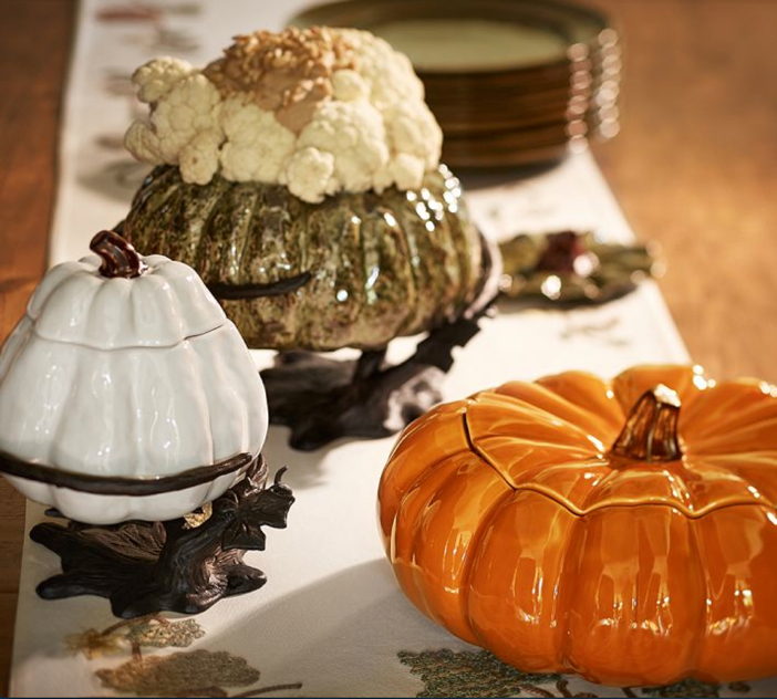 Pottery Barn Pumpkin with Serve Stand - Pumpkin Table Decor