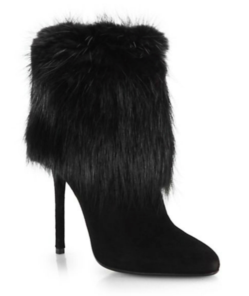 Prada Suede & Fur Ankle Boots