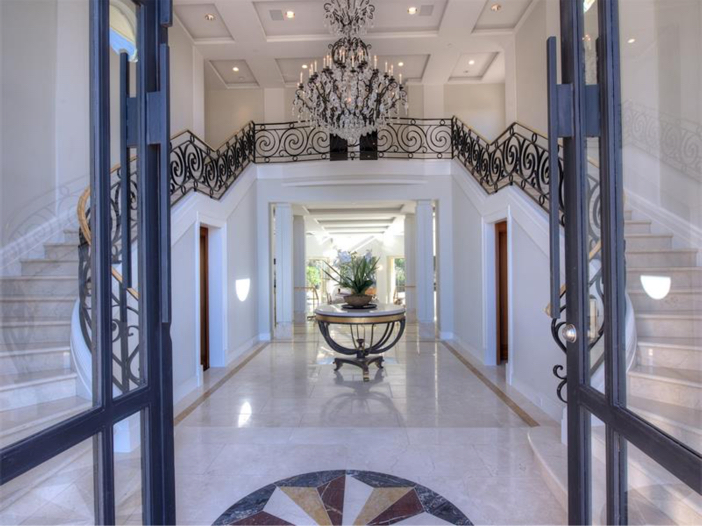 $15 Million Gated Private Mansion in Tiburon, California - Dramatic Entry with a Crystal Chandelier