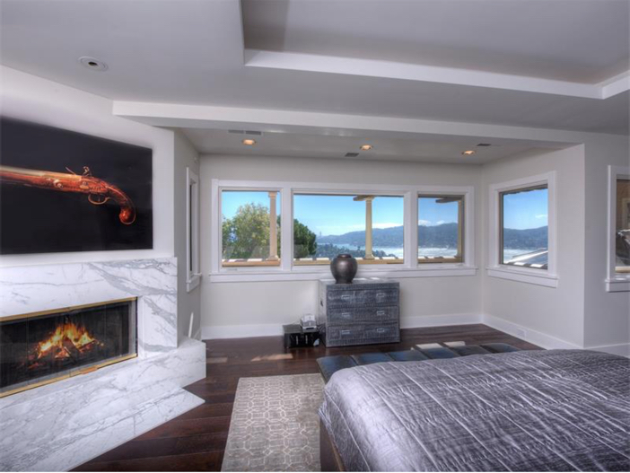 $15 Million Gated Private Mansion in Tiburon, California - Fireplace in Master Suite