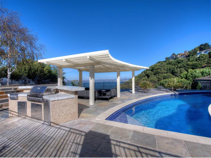 $15 Million Gated Private Mansion in Tiburon, California - Pool with BBQ