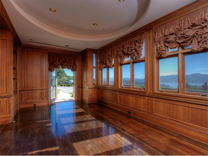 $15 Million Gated Private Mansion in Tiburon, California - Wood Panel Office