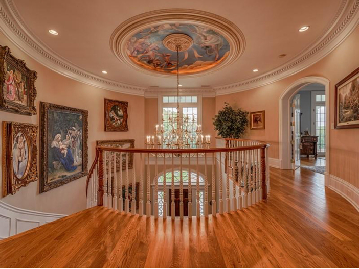 $2.9 Million Greek Revival Mansion in St. Louis, Missouri - Staircase with Chandelier
