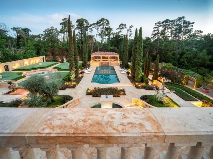 $43 Million Neoclassical Mansion in Houston, Texas - Pool with Gardens