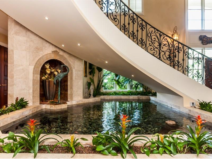 $7.8 Million Luxurious Estate in Raleigh, North Carolina - Water Feature Under Staircase