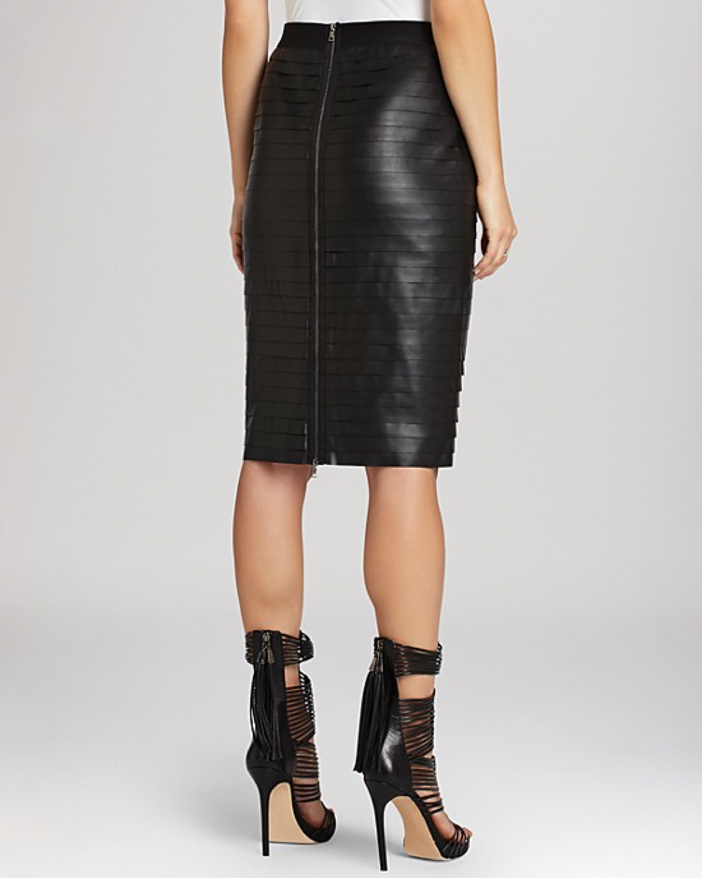 BCBGMAXAZRIA Faith Faux Leather Pencil Skirt - Back