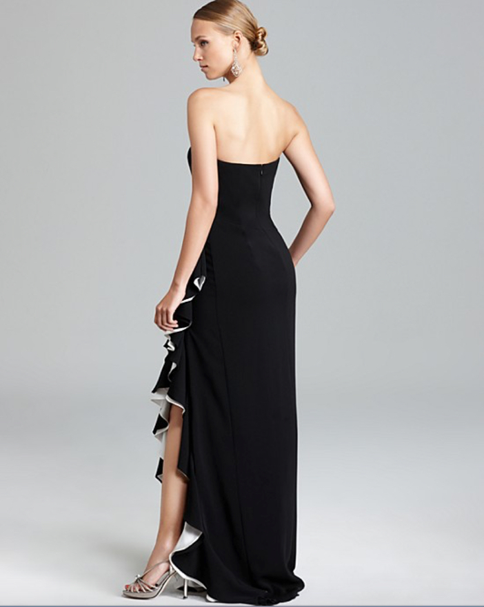 Badgley Mischka High Slit Ruffle Gown - Side