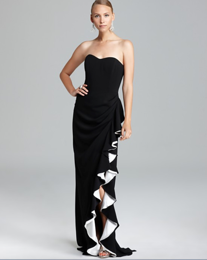 Badgley Mischka High Slit Ruffle Gown