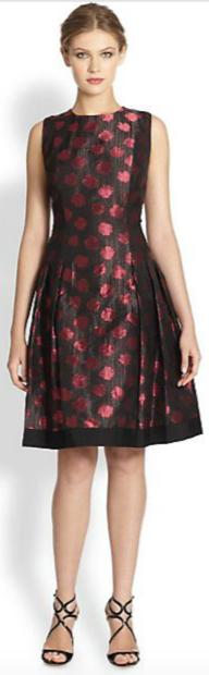 Carmen Marc Valvo Polka Dot Shantung Dress
