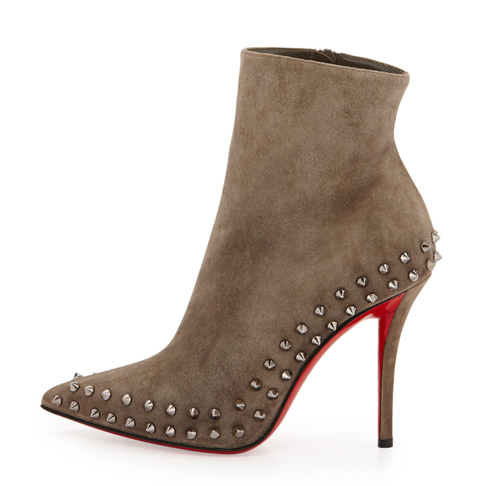 Christian Louboutin  Wiletta Spike-Trim Suede Red Sole Bootie - Side View