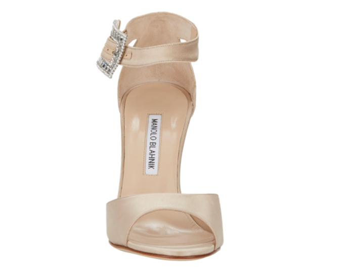 Manolo Blahnik Jeweled-Buckle Dribbin Sandals - Front View