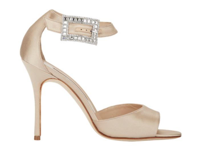 Manolo Blahnik Jeweled-Buckle Dribbin Sandals - Side View