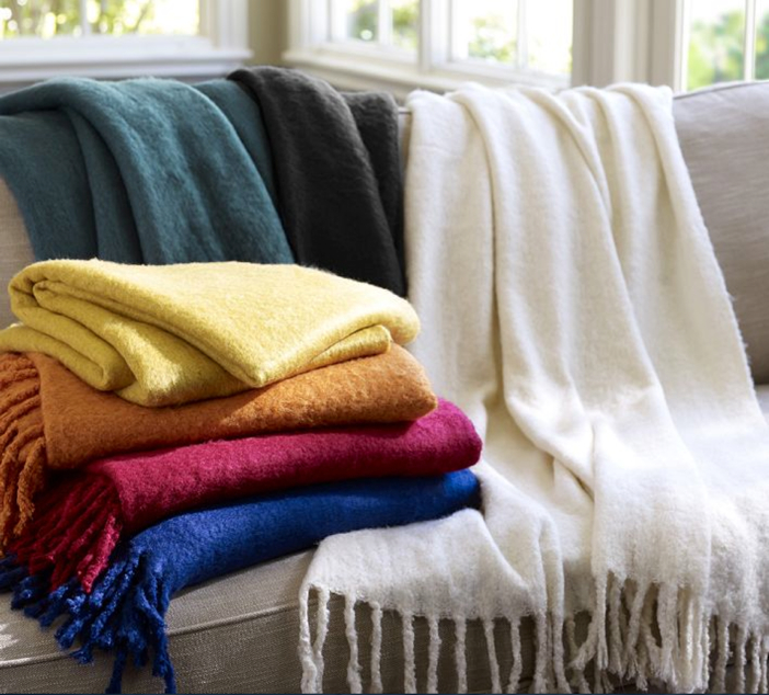 Pottery Barn Faux Mohair Throw - Add Color