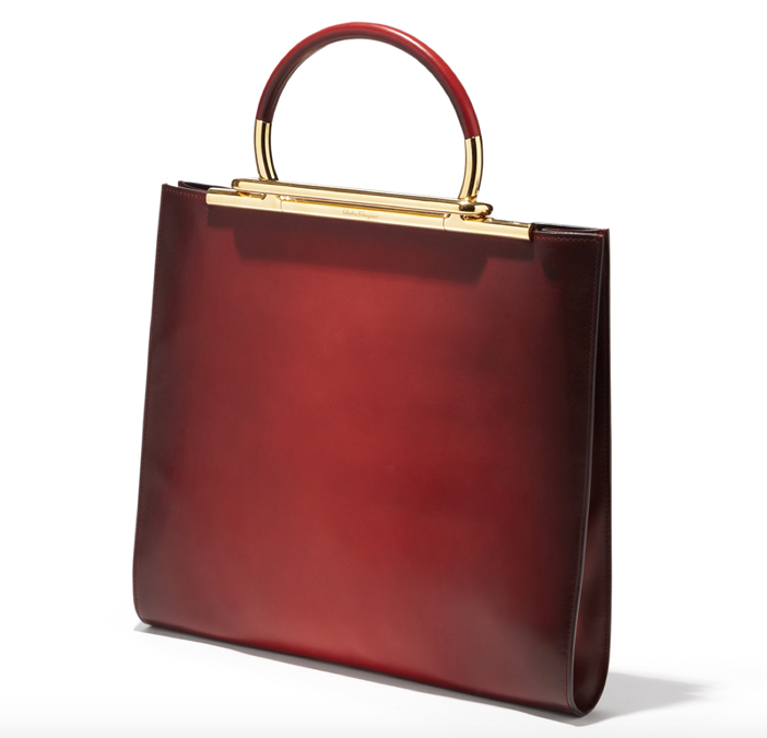 Salvatore Ferragamo Oxblood Handbag - Side View