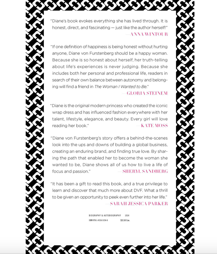 The Woman I Wanted To Be by Diane von Furstenberg - Book Jacket Back