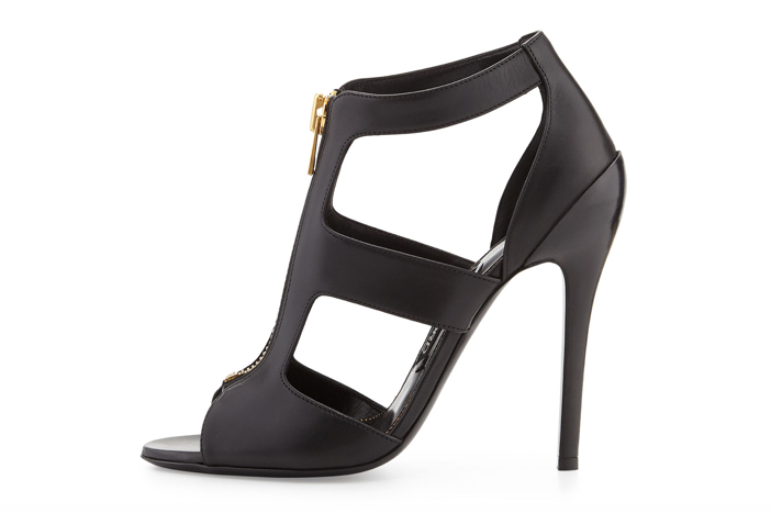 Tom Ford Cutout Leather Zip-Front Bootie - Side View