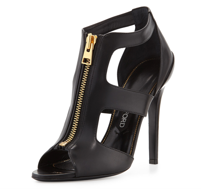 Tom Ford Cutout Leather Zip-Front Bootie