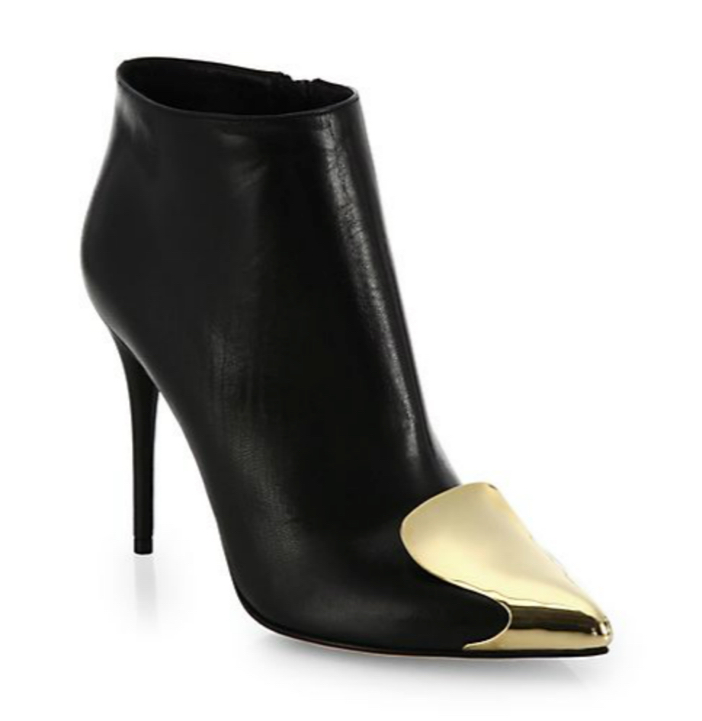 Alexander McQueen Leather Metal Cap-Toe Ankle Boots