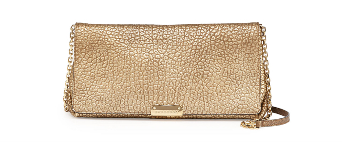 Burberry  Metallic Pebbled Flap Crossbody Bag