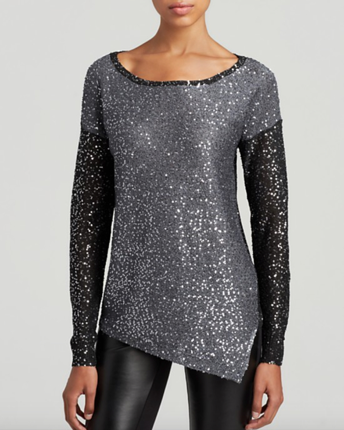 DKNYC Sequined Colorblock Long Sleeve Pullover
