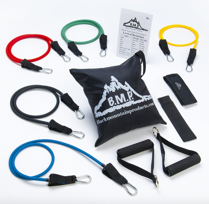 Black Mountain Products Resistance Band Set with Door Anchor, Ankle Strap, Exercise Chart, and Resistance Band Carrying Case 2