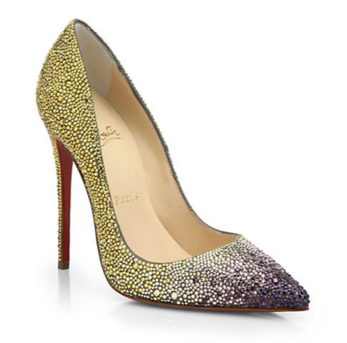 Christian Louboutin Ombré Crystal Leather Pumps 4