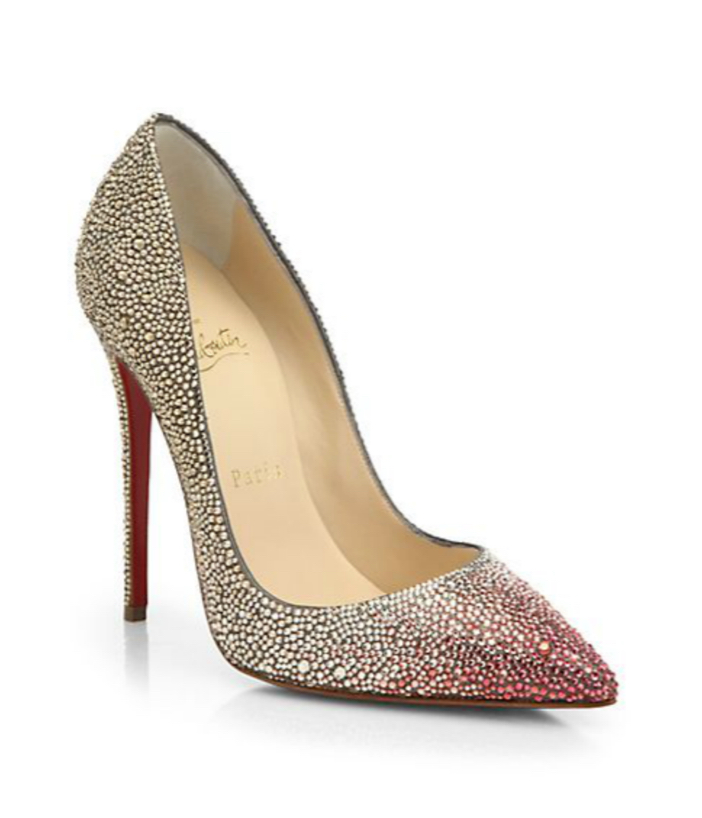 Christian Louboutin Ombré Crystal Leather Pumps