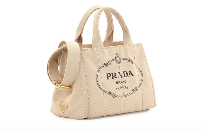 Prada Canvas Mini Logo Tote with Strap 3