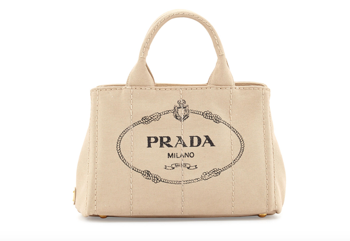 Prada Canvas Mini Logo Tote with Strap