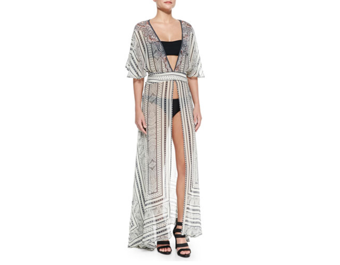 Camilla Open-Front Printed Chiffon Coverup
