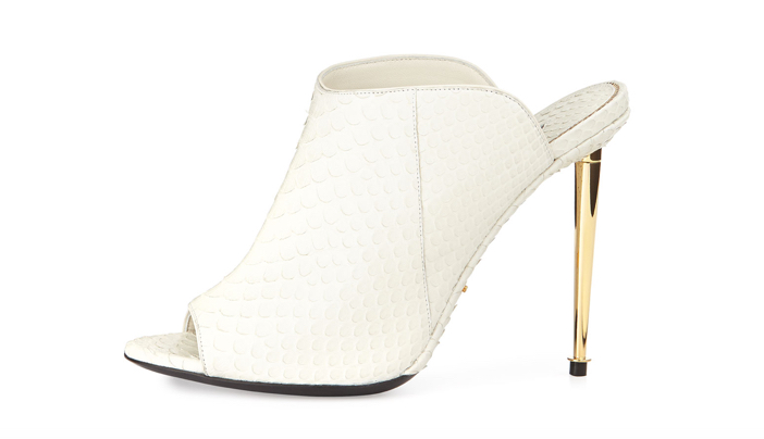TOM FORD Open-Toe Python Mule 4