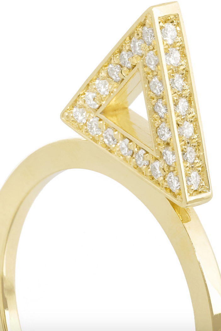 Jennifer Meyer 18-karat Gold Diamond Triangle Ring 5