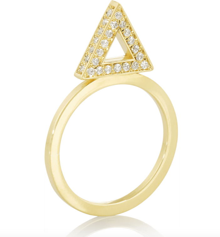 Jennifer Meyer 18-karat Gold Diamond Triangle Ring 6