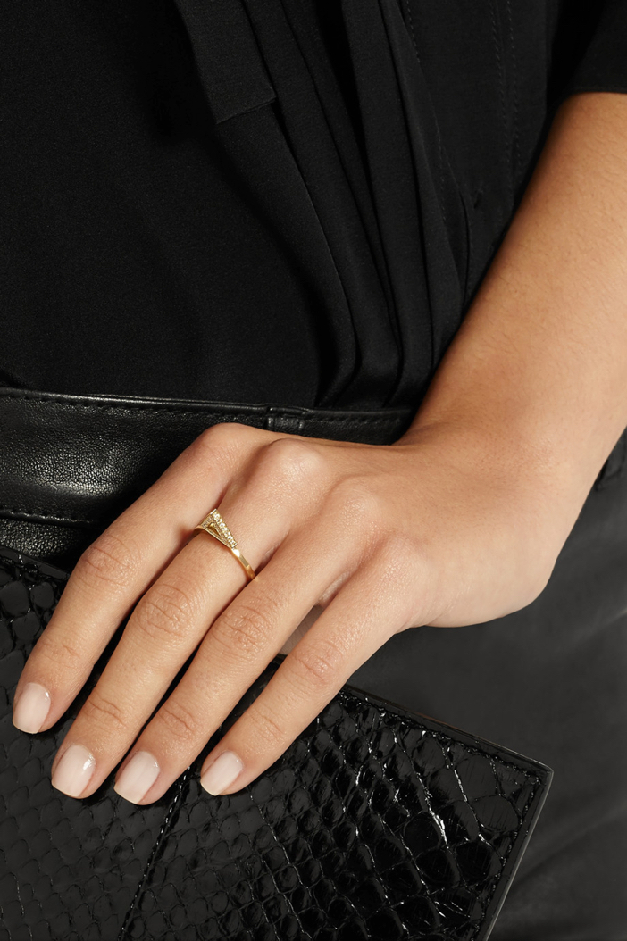 Jennifer Meyer 18-karat Gold Diamond Triangle Ring 7
