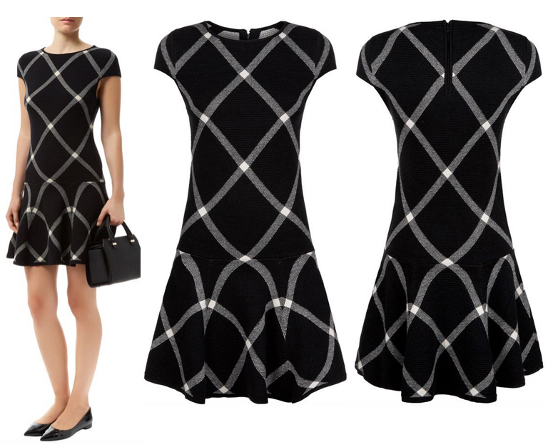 Alice + Olivia Diagonal Plaid Drop Waist Dress