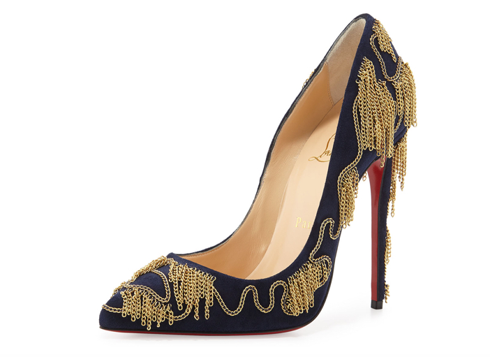 Christian Louboutin Dolly Party Chain-Detail Red Sole Pump