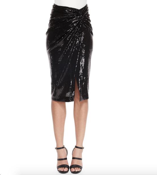 donna karan sequined twist knot skirt