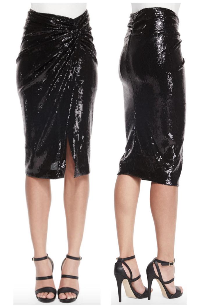 Donna Karan Sequined Twist-Knot Skirt