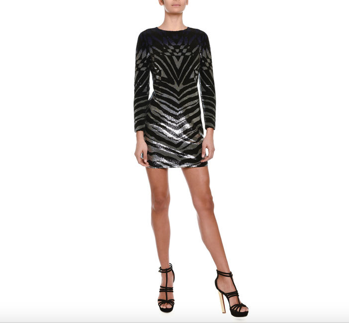 Emilio Pucci  Ombre Sequined Zebra-Striped Sheath Dress