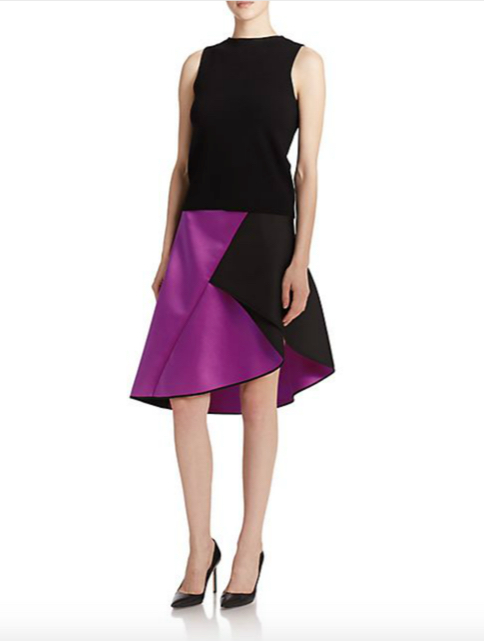 MILLY Asymmetrical Satin Contrast Skirt 2