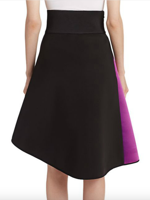 MILLY Asymmetrical Satin Contrast Skirt 3