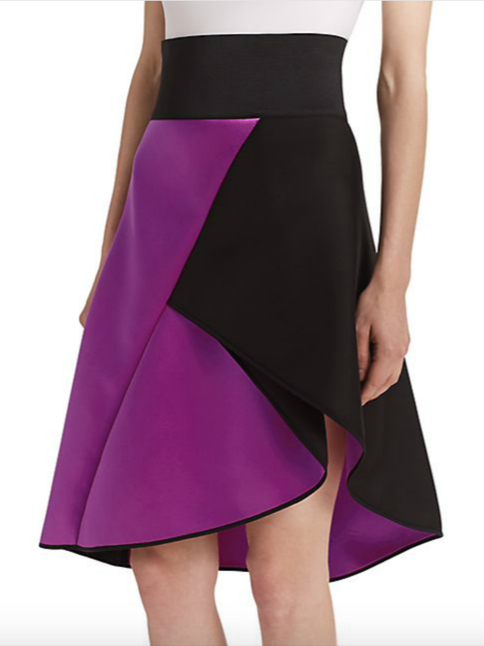 MILLY Asymmetrical Satin Contrast Skirt 4
