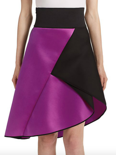 MILLY Asymmetrical Satin Contrast Skirt