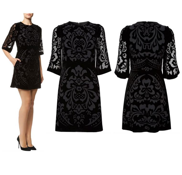 Needle & Thread Fleur Devore Velvet Dress