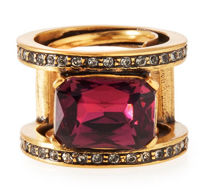 Oscar de la Renta Octagon Crystal Band Ring 2