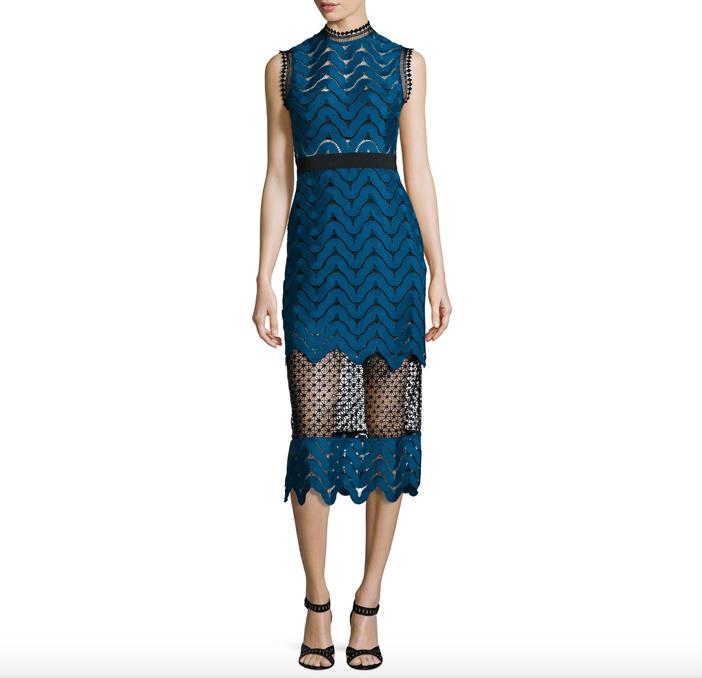 Self Portrait  Scalloped Mixed-Lace Midi Dress