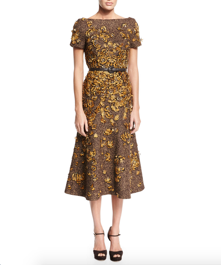 Michael Kors Feather-Embroidered Short-Sleeve Dress 3