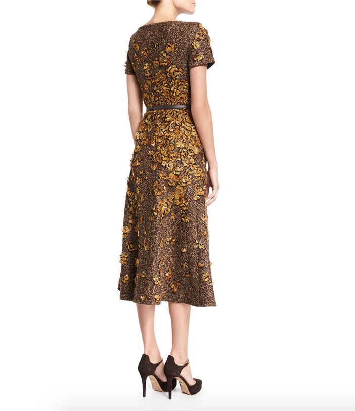 Michael Kors Feather-Embroidered Short-Sleeve Dress 4