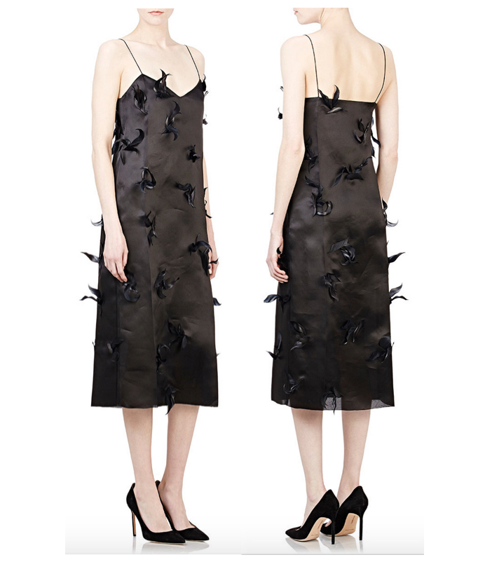 NINA RICCI Feather-Embellished Cocktail Dress